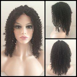 Medium Kinky Curly Middle Parting Lace Front Human Hair Wig -