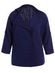Plus Size Coat Pocket Conception Plaine -