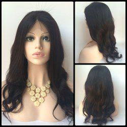 Centre Parting Long Body Wave Lace Front Human Hair Wig - BLACK