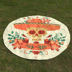 Halloween Festival Flower Skull Pattern Round Beach Throw - OFF-WHITE