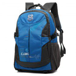 Nylon Color Spliced Zippers Backpack - BLUE
