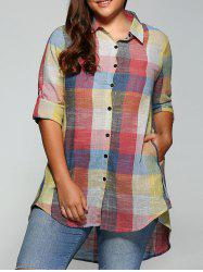 Plus Size Plaid Asymmetrical Shirt -