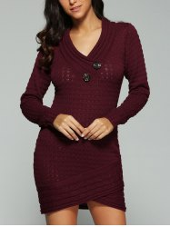 V Neck Long Sleeve Fitted Jumper Dress - WINE RED