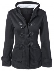 Hooded Duffle Coat - BLACK
