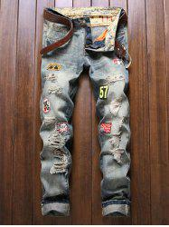 Holes and Cat's Whisker Appliques Straight Leg Denim Pants