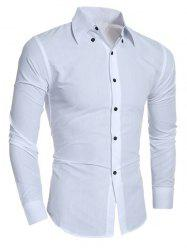 Rhombic Pattern Turn-Down Collar Shirt -