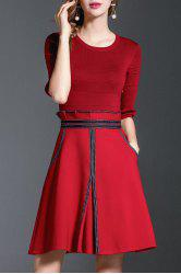 A Line Peplum Knit Dress