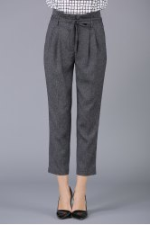 High Waist Belted Pencil Pants