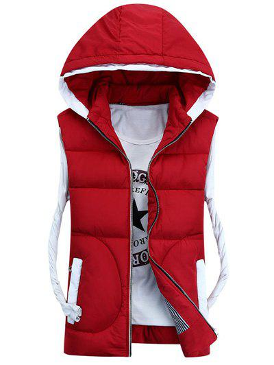 Trendy Hooded Thicken Zip-Up Down Waistcoat