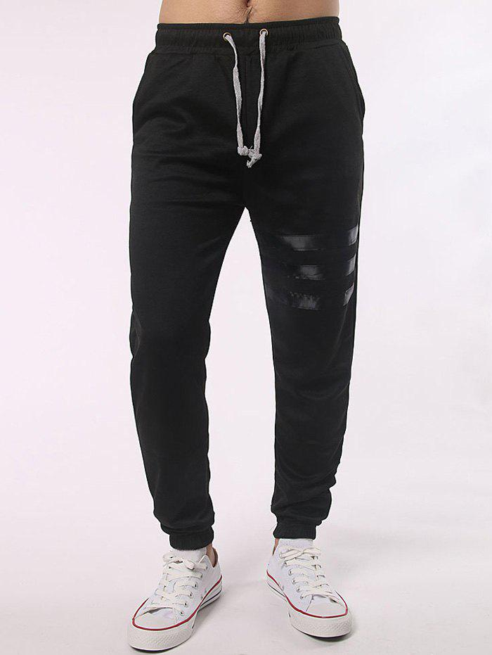 Stripe Paneled Pocket Back Drawstring Jogger PantsMEN<br><br>Size: L; Color: BLACK; Style: Casual; Pant Style: Jogger Pants; Pant Length: Long Pants; Material: Cotton Blends,Polyester; Fit Type: Regular; Front Style: Flat; Closure Type: Drawstring; Waist Type: Mid; With Belt: No; Weight: 0.400kg; Package Contents: 1 x Pants;