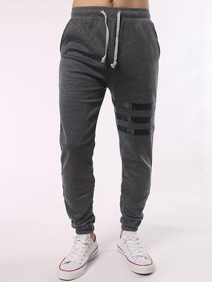 Stripe Paneled Pocket Back Drawstring Jogger PantsMEN<br><br>Size: M; Color: DEEP GRAY; Style: Casual; Pant Style: Jogger Pants; Pant Length: Long Pants; Material: Cotton Blends,Polyester; Fit Type: Regular; Front Style: Flat; Closure Type: Drawstring; Waist Type: Mid; With Belt: No; Weight: 0.400kg; Package Contents: 1 x Pants;