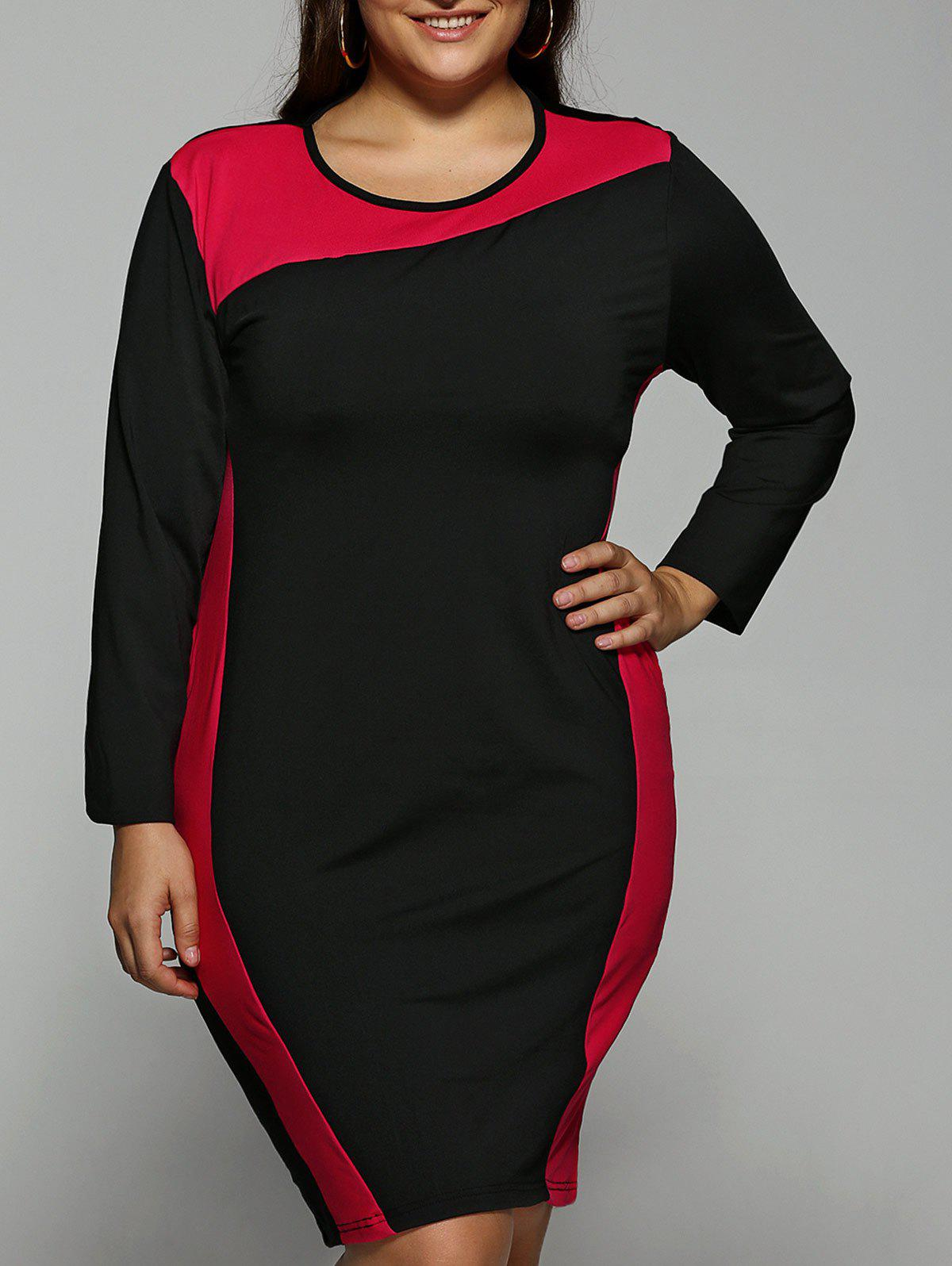Chic Color Block  Long Sleeve Plus SizeDress