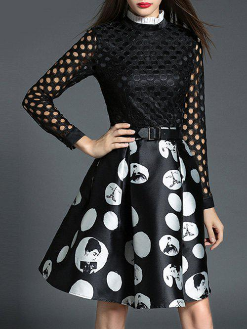 Outfits Cut Out Polka Dot Fit and Flare Dress