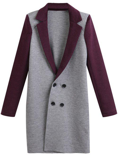 Cheap Plus Size Lapel Color Block Double Breasted Coat