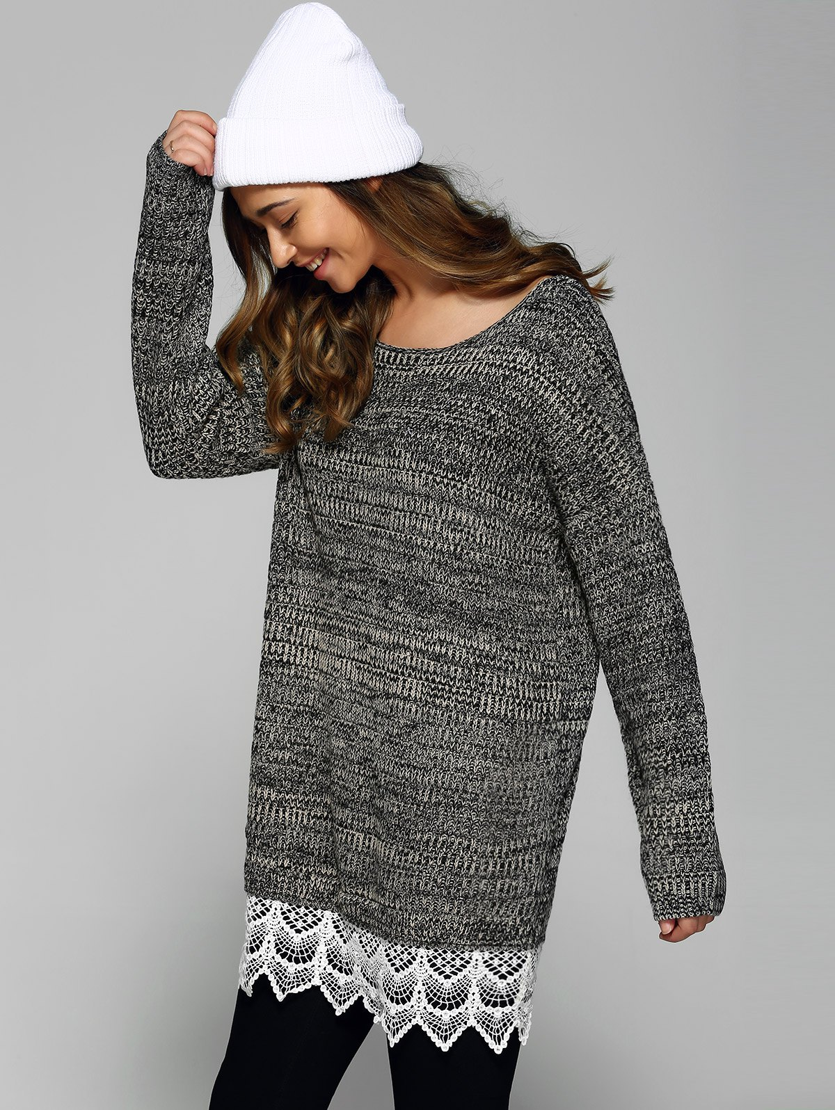 Heathered dentelle Patchwork Sweater Gris Taille Unique