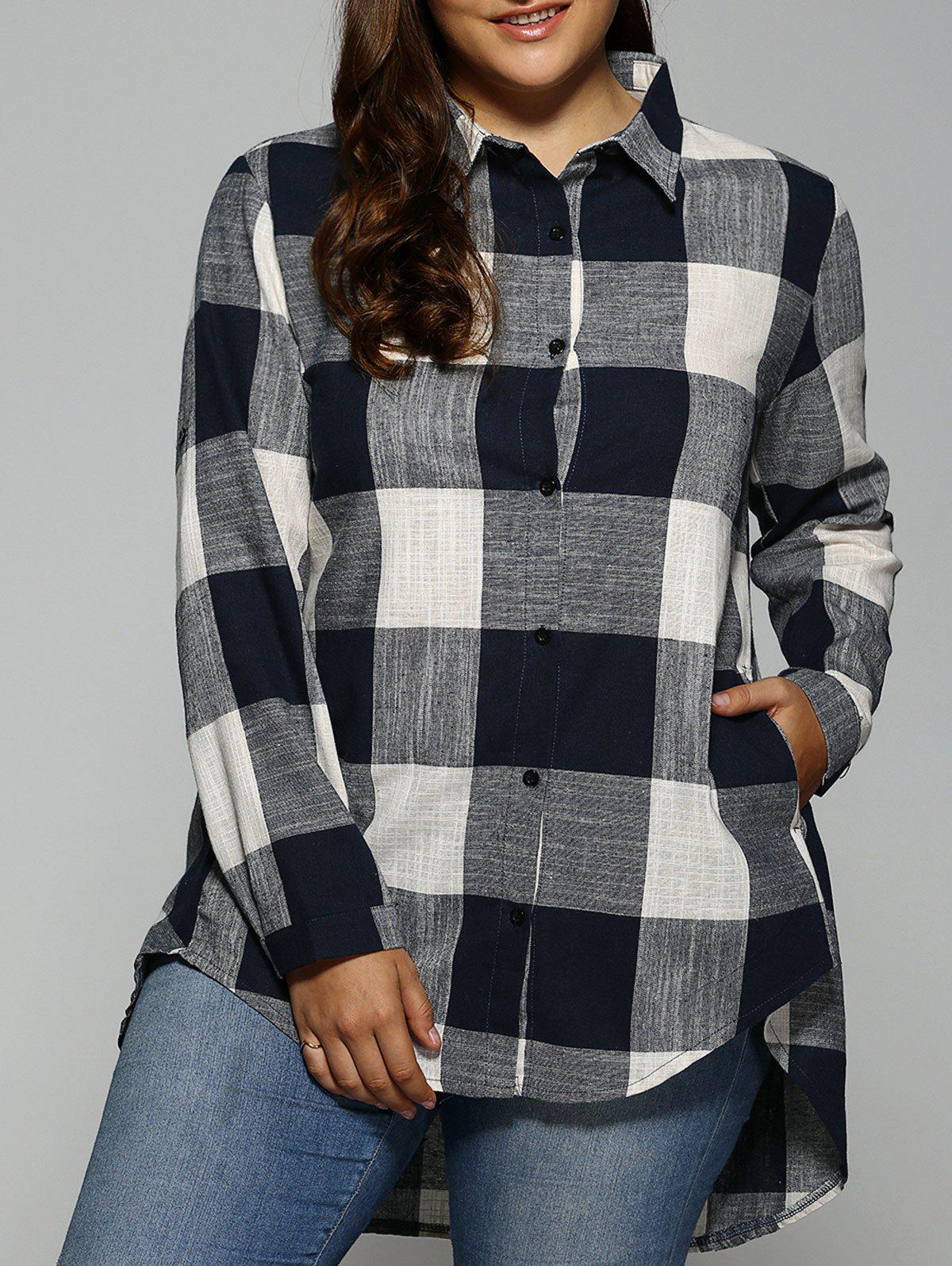 Fashion Plus Size Plaid Asymmetrical Shirt