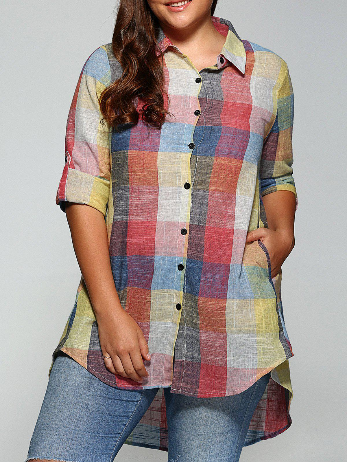 Unique Plus Size Plaid Asymmetrical Shirt