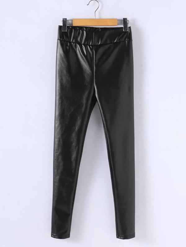 PU Leather Stretchy Plus Size LeggingsWOMEN<br><br>Size: 3XL; Color: BLACK; Style: Fashion; Length: Ninth; Material: Faux Leather; Fit Type: Skinny; Waist Type: High; Closure Type: Elastic Waist; Pattern Type: Solid; Pant Style: Pencil Pants; Weight: 0.320kg; Package Contents: 1 x Leggings;