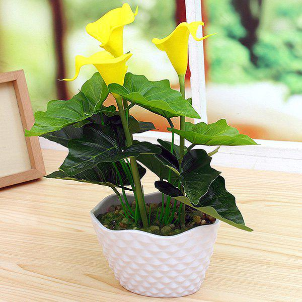 PU réel tactile Calla fleur artificielle Bonsai