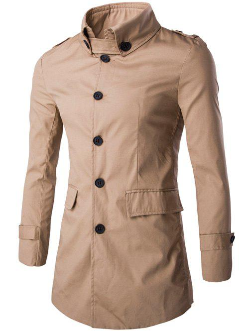 Outfits Slim Button-Down Collar Epaulet Design Trench Coat