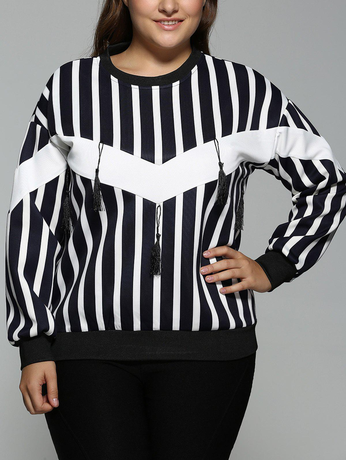 Buy Plus Size Striped Fringed Sweatshirt