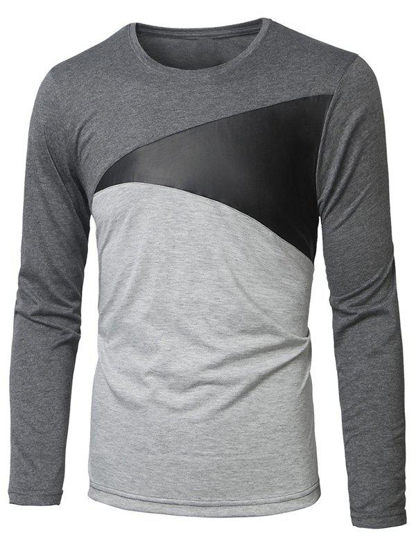 Manches longues col rond Paneled T-shirt