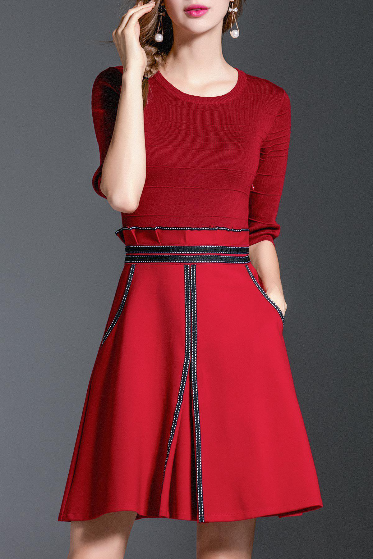 Outfit A Line Peplum Knit Dress