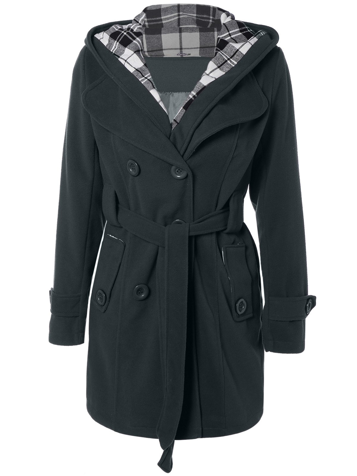 Cheap Hooded Belted Wool Blend Coat