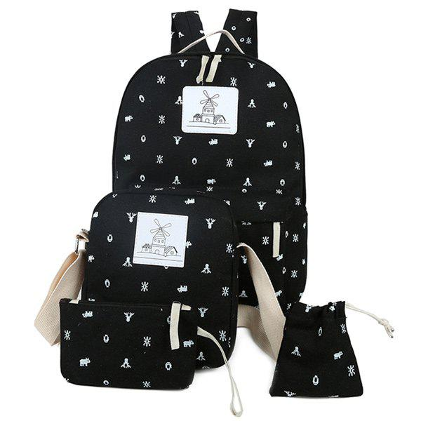 Outfits Color Spliced Animal Print Canvas Backpack