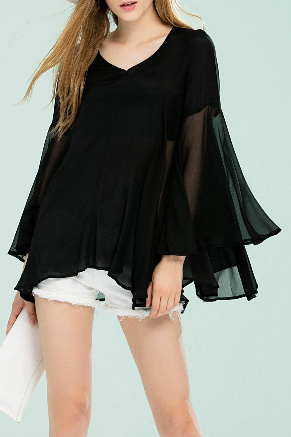 Manches cloche Bottom See Through Blouse