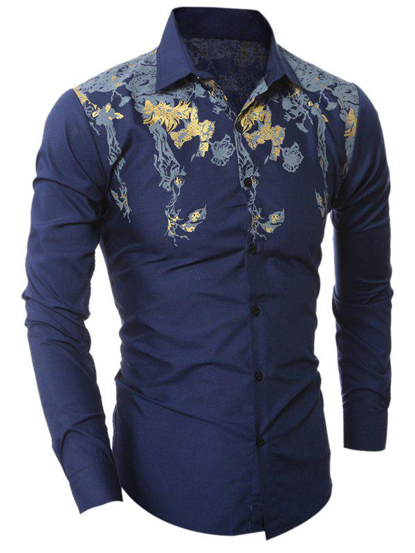 Sale Golden Floral Pattern Turn-Down Collar Shirt