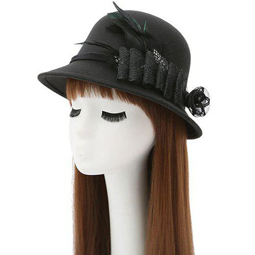 Store Feather Floral Mesh Embellished Fedora Hat