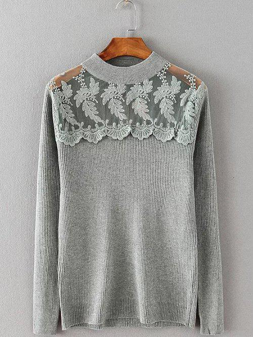 Outfits Lace Spliced Stretchy Knitwear