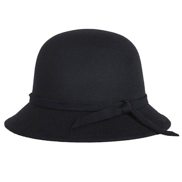 Winter Long Band Faux Wool Fedora HatACCESSORIES<br><br>Color: BLACK; Hat Type: Fedoras; Group: Adult; Gender: For Women; Style: Fashion; Pattern Type: Solid; Material: Acrylic; Circumference (CM): 57CM; Weight: 0.143kg; Package Contents: 1 x Hat;