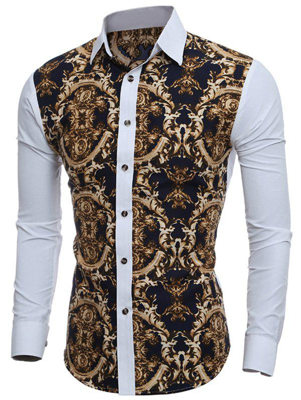 Slim-Fit Digital Print ShirtMEN<br><br>Size: M; Color: WHITE; Shirts Type: Casual Shirts; Material: Cotton,Polyester; Sleeve Length: Full; Collar: Turn-down Collar; Weight: 0.1710kg; Package Contents: 1 x Shirt;