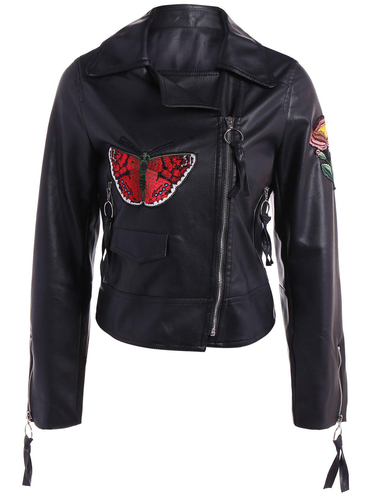 Affordable Embroidered Zippers PU Leather Jacket