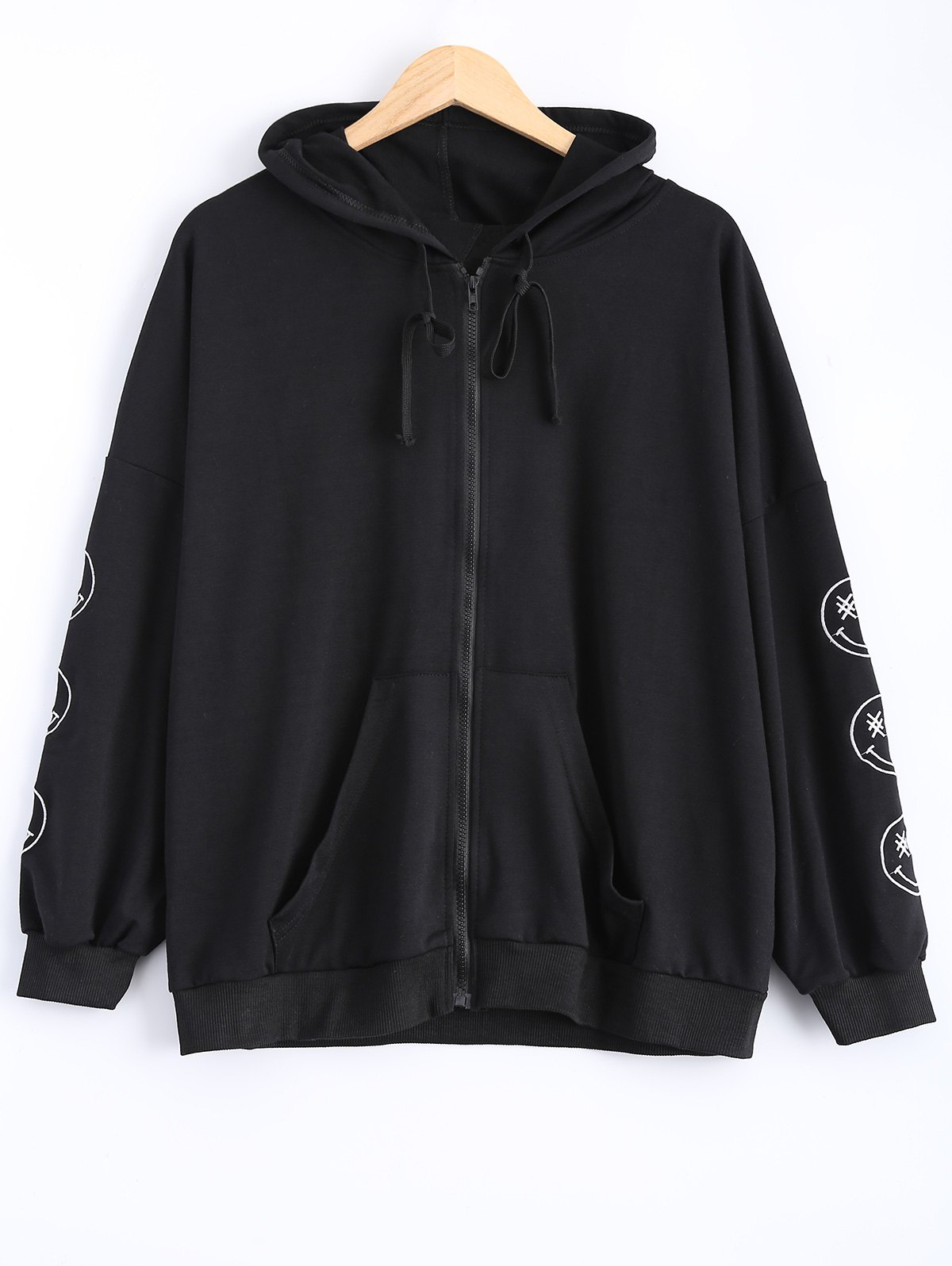 Shops Plus Size Smile Embroidered Jacket with Hood
