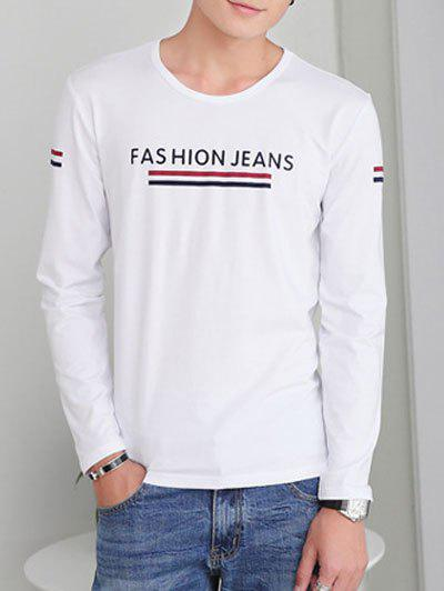 Sleeve Neck Lettre d'impression ronde long T-shirt