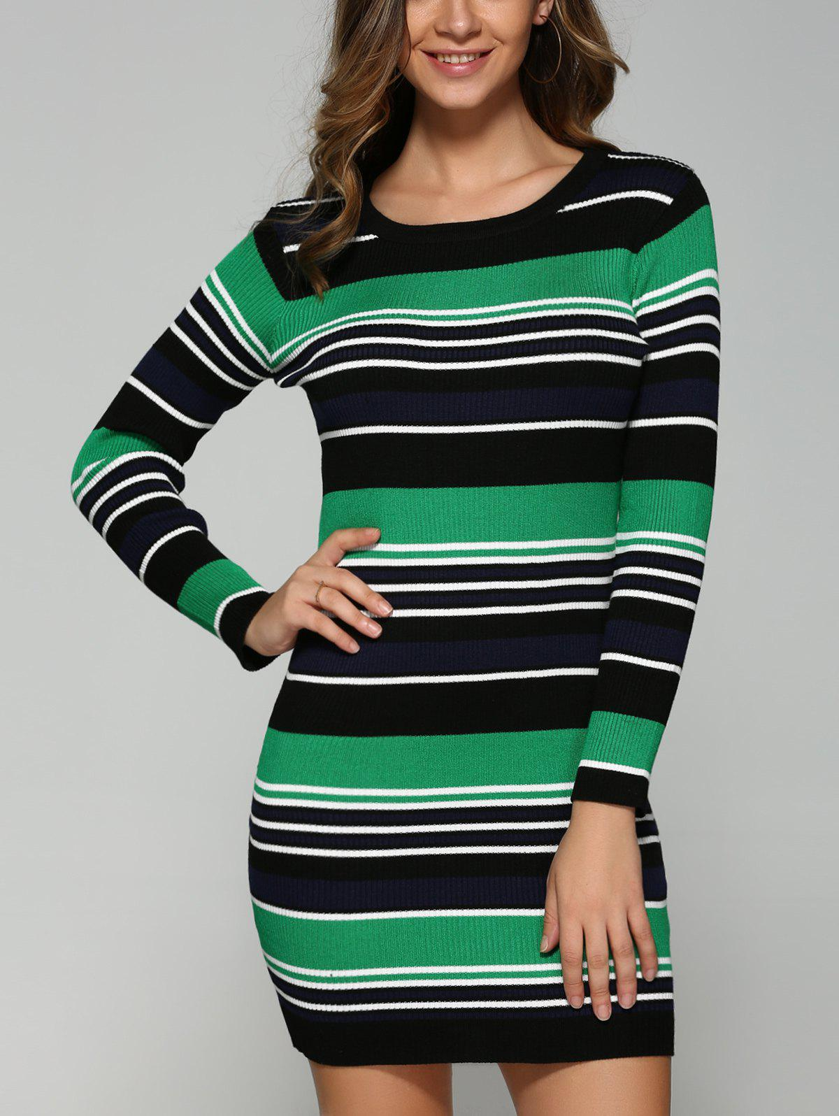 Extensible Multicolor Striped Slim Dress