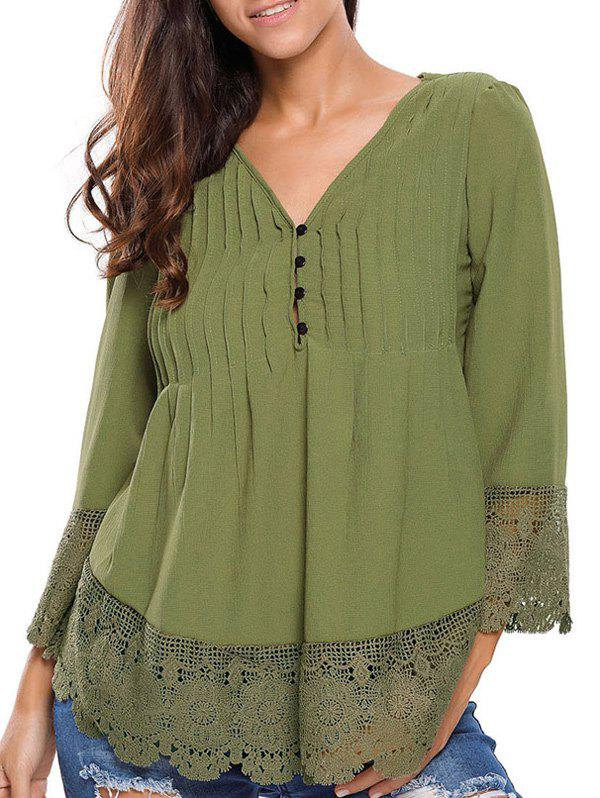 Shop Lacework Splicing Single-Breasted Blouse