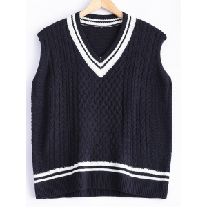V-Neck Cable-Knit Striped Knitwear - Cadetblue - One Size