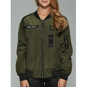 Patched Printed Bomber Jacket - Army Green - S