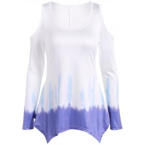Long Sleeve Cold Shoulder Tie Dye Tee