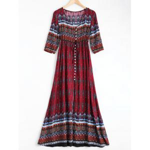 Bohemian Print Long Swing Dress with Sleeves - Wine Red - 2xl