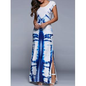 Scoop Neck Printed Side Slit Dress