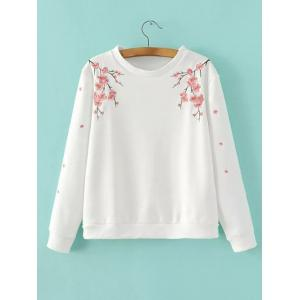 Wintersweet Embroidery Loose-Fitting Pullover Sweatshirt