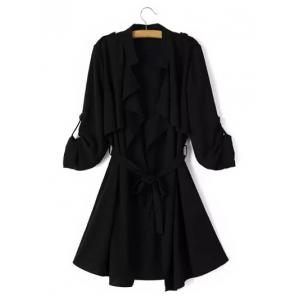 Tie Belt Epaulet Overlay Wrap Trench Coat - Black - M