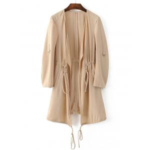 Adjustable Sleeve Drawstring Waist Trench Coat - Light Khaki - S