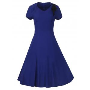 Vintage High-Waist Embroidery Zippered Dress - Sapphire Blue - M