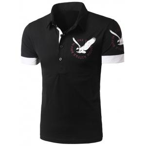 Spliced Design Eagle Print Short Sleeve Polo T-Shirt - Black - M